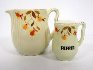 "Hall's Superior Kitchenware In Jewel Autumn Leaf Pattern, Includes Pitcher, 6"" High, And Pepper Shaker (Missing Plug)"