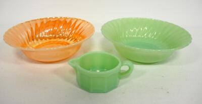 "Anchor Hocking Swirl Bowls, 1 Fire King Peach Luster And Other Jadeite Green, And Seafoam Green Creamer Marked ""B"""