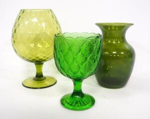 Green Glass Decor, Includes Goblet And Vases, Total Qty 3