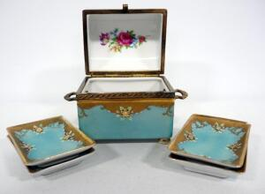 Ceramic Trinket Box With Internal Rose Pattern, Handles, And Matching Vanity Trays (1 With Chipped Corner), Total Qty 5