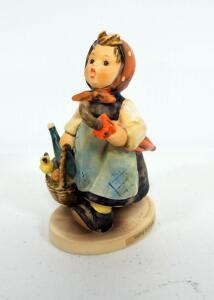 "Goebel Hummel ""Visiting An Invalid"" Porcelain Figurine No. 382, 5"" Tall, 1971 Engraving Year"