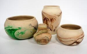 "Nemadji Pottery Pots, Sizes Range 3""-6"" High, Each Piece Has Marble Patterns Of Various Colors, Qty 4"