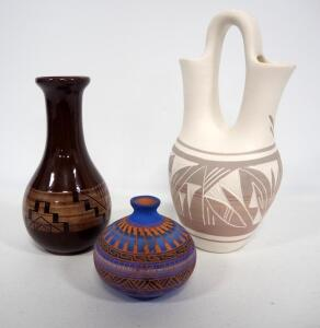 "Southwest Style Pottery, Various Colors, Heights Include 3.5"", 7.5"", And 10"", 1 Piece Made By Sioux Indians, 3 Total Pieces"