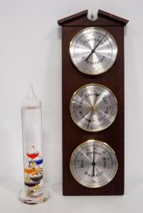 Taylor USA Wall Hanging Barometer/Thermometer/Hygrometer And Galileo Thermometer