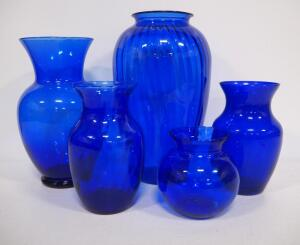 "Blue Glass Urn Style Vases, Heights Rage 5""-13"" High, Total Qty 5"