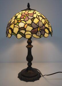 "Tiffany Style Table Lamp, Powers On, Approx 21"" High"