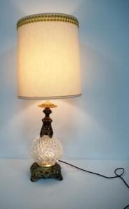 "Opulent Style Table Lamp With Clear Glass And Gold Toned Base, Powers On, 35"" High"