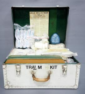 "EMT Trauma Kits, Includes Blankets, Dressing, Bandages, Tape, Burn Sheets, And More, In Trunk 10"" High x 23.5"" Wide x 18"" Deep"