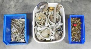 Assortment Of Nuts, Bolts, Connectors And More, Contents Of 5 Gal Bucket And 2 Storage Bins, Uncounted, Unsorted
