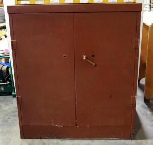 "Metal 2-Door Cabinet With Adjustable Shelves (Jammed In Back Of Cabinet), 42"" High x 36"" Wide x 18.5"" Deep"