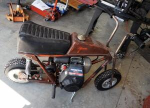 Vintage Gas Powered Mini Bike With 5 HP Honda Motor, Unknown Working Condition