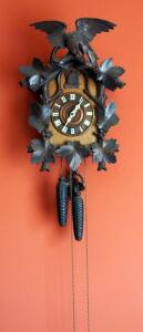 "Antique German Cuckoo Clock With Eagle And Maple Leaf Carved Trim, 19""x13.5"", Appears To Chime, Unknown Working Order"