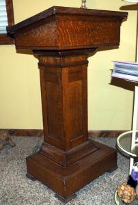 "Antique Solid Wood Pulpit, 43.5""x24""x18.5"""