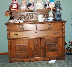"Antique Solid Wood 3-Drawer Buffet With Dovetail Construction, Carved Panel Accents, Shelf & Lower Storage, 54""x54""x22"", Contents Not Included"