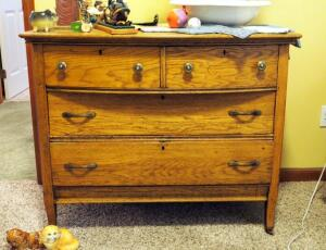 "Antique Solid Wood Four Drawer Dresser, Dovetail Construction And Wood Casters, 33""x40""x21.5"", Contents Not Included"