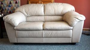 "Beige Leather Loveseat, 32""x60""x34"""