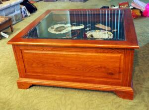 "Solid Wood Two Drawer Beveled Glass Display Coffee Table, 16.5""x36""x36"", Contents Not Included"
