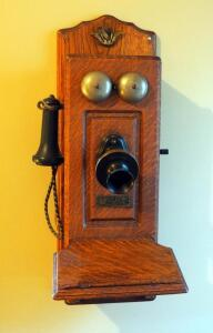"Antique North Electric Co. Wall Mounted Telephone, 26""x9""x12"", Mounted To Wall, Bidder Responsible For Proper Removal"