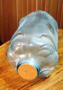 "Vintage 5 Gallon Glass Piggy Bank/Jar With Cork Lid Marked ""This Little Piggy Went To Market"" 10.5""x18"""