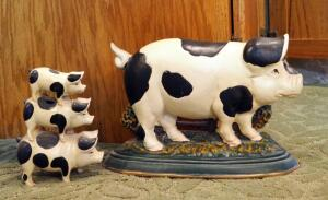 "Painted Cast Iron Pig Doorstops Qty 2, 9""x12"" And 7""x5"""