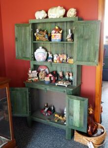 "Painted Barn Wood Four Door Baker's Cabinet, 65.5""x31.5""x14.5"" Contents Not Included, Second Day Loadout Only"