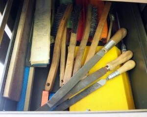 Nicholson And Simmonds Hand Files, Wire Brushes, And Sanding Foam, Contents Of Drawer