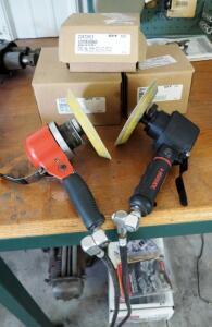 Husky Pneumatic Dual Action Sander, Ingersoll-Rand Pneumatic Sander, And Sanding Discs, New In Box, Qty 3 Boxes