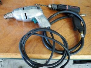 Husky Pneumatic 3/8 Inch Reversible Drill And Vintage Ram Tool Corporation Electric Fury 3/8 Inch Drill