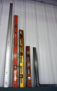 Level Assortment Including 36 Inch Speed Level, Sands 24 Inch Level, Carpenters Square, And Johnson Level And Tool J60 Ruler