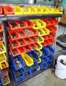 "Freestanding Hardware Bin Organizer Including Hardware; Nuts, Bolts, Washers, Couplings, & More, 58 Bins Included, 47"" Tall x 36.5"" x 9"""