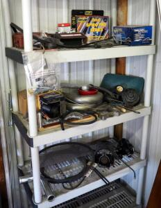 Auto Parts Including Ignition Wire Set, WPS Starter, Piggyback Diesel Auto Horn, Tachometer, Emerson Electric Motor, And More, Contents Of Storage...