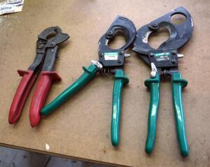 Greenlee Compact Ratchet Cable Cutters, Qty 2, And Klein Cable Cutter