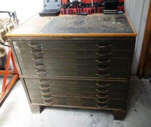 "Vintage Hamilton Economy Heavy Duty Steel 10 Drawer Map Cabinet, 38"" x 41"" x 31"""