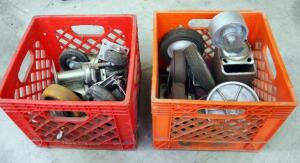 Heavy Duty Casters And Wheels, Contents Of 2 Milk Crates