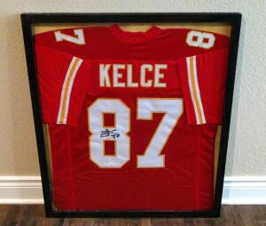 "Travis Kelce Signed 29"" X 33"" Custom Framed Jersey, JSA COA"