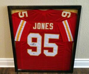 "Chris Jones Signed 29"" X 33"" Custom Framed Jersey, Beckett COA"