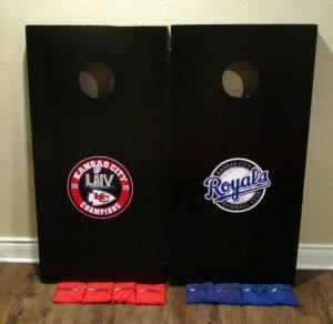 Kansas City Chiefs And Kansas City Royals Corn Hole Boards With Bags