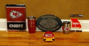 Kansas City Chiefs Cups, Tin Sign, Sticker, And Koozie