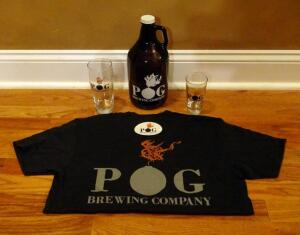 Pog Brewing Shirt, Glasses, Growler, And Sticker