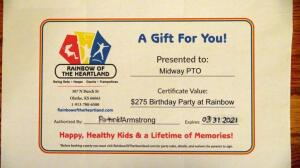 Rainbow Of The Heartland, $275 Birthday Party Gift Certificate