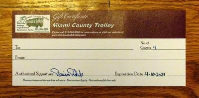 Miami County Trolley, Gift Certificate For 4 Guests
