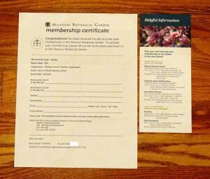 Missouri Botanical Gardens, One Year Membership For 2
