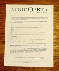 Lyric Opera Kansas City, 2 Complementary Tickets