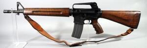 Olympic Arms Model P.C.R. 99 .223-5.56mm Rifle SN# JJ 0478, Custom Black Walnut Stock, Pistol Grip, Hand Guard, 30 Rd Mag, And Leather Sling, In Case