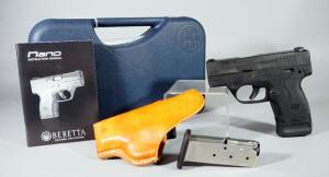 Beretta Nano 9mm Para Pistol SN# NU136233, With 2 Total Mags, Leather Holster And Paperwork, In Hard Case
