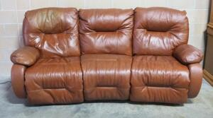 "Leather Sofa With Motorized Recliners On Each End And Stationary Center Section, Includes Cord, Powers On, Approx 42"" High x 84"" Long"