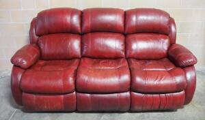 "Leather Sofa With Recliners On Each End And Stationary Center Section, Approx 42"" High x 82"" Long"