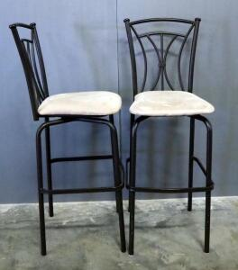 "Padded Swivel Bar Stools, Qty 2, 47.5"" High"
