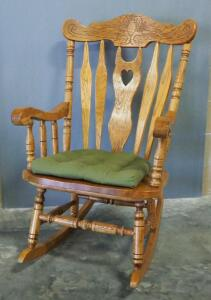 "Wood Rocking Chair With Carved Headrest, Slat Back And Tie-On Padded Seat Cushion, 43"" High x 23.5"" Wide"