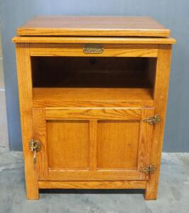"Surewood Oak Cabinet With Swivel Top, Open Shelf And Lower Compartment With Hinged Door, 34.75"" High x 27"" Wide x 19"" Deep"